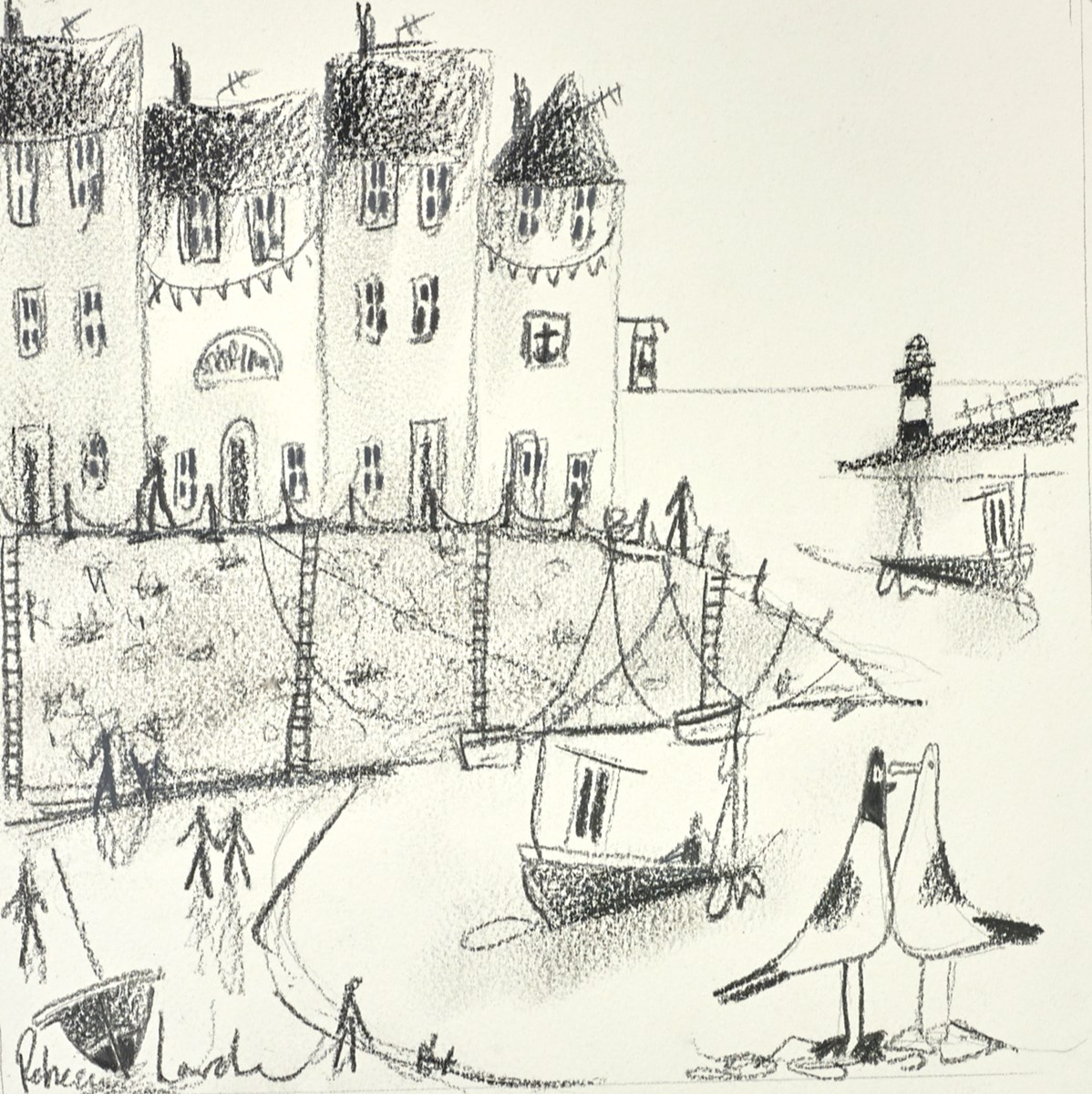 Seagulls in the Harbour Sketch