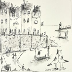 Seagulls in the Harbour Sketch by Rebecca Lardner - Original Drawing on Mounted Paper sized 9x9 inches. Available from Whitewall Galleries